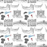 Venice Italy seamless pattern Hand drawn sketch with gondolas gondolier clothes houses market bridge and cafe table with chairs Doodle drawing isolated on white vector