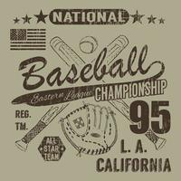 Baseball sport typography Eastern league los Angeles sketch of crossed baseball batsand glove tshirt Printing design graphics vector illustration poster Badge Applique Label