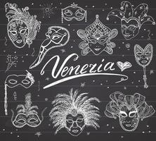 Venice Italy sketch carnival venetian masks Hand drawn set Drawing doodle collection on chalkboard background vector