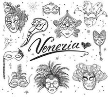 Venice Italy sketch carnival venetian masks Hand drawn set Drawing doodle collection isolated vector