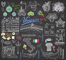 Venice Italy sketch elements Hand drawn set with flag map gondolas gondolier clothes houses pizza traditional sweets carnival venetian masks market bridge Drawing doodles on chalkboard vector