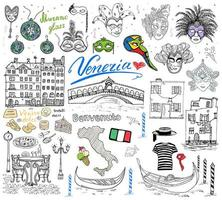 Venice Italy sketch elements Hand drawn set with flag map gondolas gondolier clothes houses pizza traditional sweets carnival venetian masks market bridge Drawing doodles isolated vector