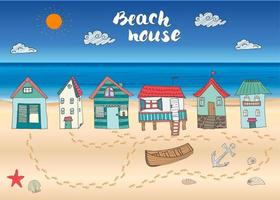 Beach huts and bungalows hand drawn outline color doodle set with light house wooden boat and anchor seashells and footsteps on sandy beach vector illustration