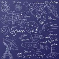 Space doodles icons set Hand drawn sketch vector illustration on blue background