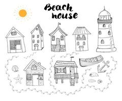 Beach huts and bungalows hand drawn outline doodle set with light house wooden boat and anchor seashells and footsteps on sandy beach vector illustration isolated on white background