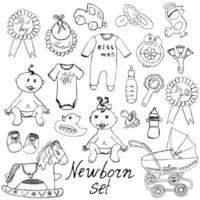 Baby icons toys clothes and cradle hand drawn sketch vector illustration isolated
