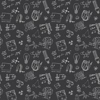 Physics and sciense seamless pattern with sketch elements Hand Drawn Doodles background Vector Illustration