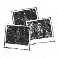 Retro photo frame hand drawn sketch set template design vector illustration