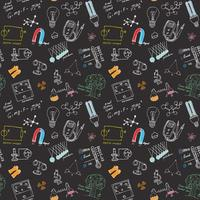 Physics and science seamless pattern with sketch elements Hand Drawn Doodles background Vector Illustration