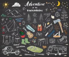 Camping Hiking Hand Drawn sketch doodle set vector illustration with mountains tent raft grill and campfire axe and knife pine trees tourist food trekking shoes and rubber boots on chalkboard