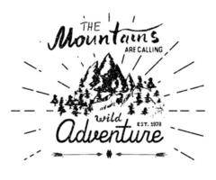 Mountains hand drawn sketch emblem outdoor camping and hiking activity Extreme sports outdoor adventure symbol vector illustration on grunge background