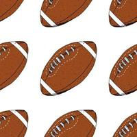 Football rugby ball seamless pattern hand drawn sketch vector illustration