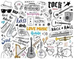Conjunto de instrumentos musicales dibujados a mano ilustración vectorial boceto aislado vector