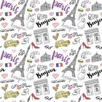 Paris seamless pattern with Hand drawn sketch elements Eiffel tower triumf arch fashion items Drawing doodle vector illustration isolated on white