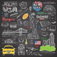 New York city doodles elements collection Hand drawn set with taxi coffee hotdog burger statue of liberty Broadway music coffee newspaper Manhattan bridge central park on chalkboard vector