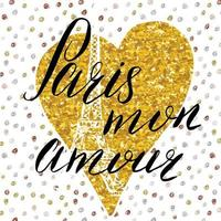 Paris my love lettering sign on gold glitter heart with Hand drawn sketch eiffel tower on abstract background vector Illustration