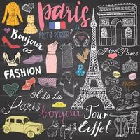 Paris doodles elements Hand drawn set with Eiffel tower bred cafe taxi triumph arch Notre Dame cathedral fashion element cat and French bulldog Drawing doodle collection on chalkboard vector