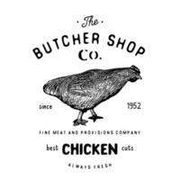 Emblema vintage de carnicería, productos cárnicos de pollo, estilo retro de plantilla de logotipo de carnicería. diseño vintage para logotipo, etiqueta, insignia y diseño de marca. ilustración vectorial en aislado vector