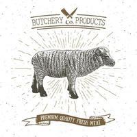 Butcher Shop vintage emblem lamb meat products, butchery Logo template retro style. Vintage Design for Logotype, Label, Badge and brand design. vector illustration.
