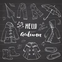 Autumn season clothes set. Hand drawn doodles and lettering vector illustration.