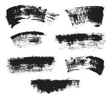 Brush strokes Set hand drawn grunge texture vector illustration isolated on white background
