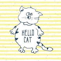 Cat sketch, handdrawn doodle print design vector illustration