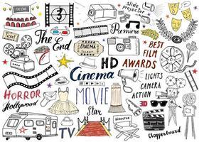 Cinema and Film Industry Set. Hand Drawn Sketch, Vector Illustration.