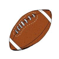 American football, rugby ball hand drawn grunge textured sketch, vector illustration isolated on white background
