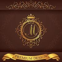 Letter M. Luxury Logo template flourishes calligraphic elegant ornament lines. Business sign, identity for Restaurant, Royalty, Boutique, Hotel, Heraldic, Jewelry, Fashion, vector illustration