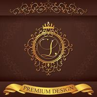 Letter L. Luxury Logo template flourishes calligraphic elegant ornament lines. Business sign, identity for Restaurant, Royalty, Boutique, Hotel, Heraldic, Jewelry, Fashion, vector illustration