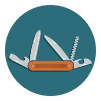 Multifunctional pocket knife icon. Flat design of hiking and camping equipment tool, vector illustration with long shadow