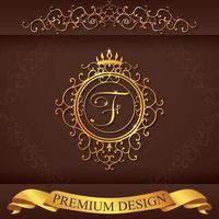 Letter F. Luxury Logo template flourishes calligraphic elegant ornament lines. Business sign, identity for Restaurant, Royalty, Boutique, Hotel, Heraldic, Jewelry, Fashion, vector illustration