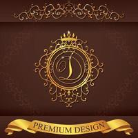 Letter D. Luxury Logo template flourishes calligraphic elegant ornament lines. Business sign, identity for Restaurant, Royalty, Boutique, Hotel, Heraldic, Jewelry, Fashion, vector illustration