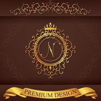 Letter N. Luxury Logo template flourishes calligraphic elegant ornament lines. Business sign, identity for Restaurant, Royalty, Boutique, Hotel, Heraldic, Jewelry, Fashion, vector illustration