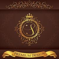 Letter S. Luxury Logo template flourishes calligraphic elegant ornament lines. Business sign, identity for Restaurant, Royalty, Boutique, Hotel, Heraldic, Jewelry, Fashion, vector illustration