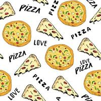 Pizza seamless pattern hand drawn sketch. Pizza slice doodles and words pizza love Food background. Vector illustration