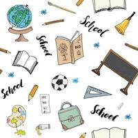 School seamless pattern HandDrawn Doodles, Vector Illustration