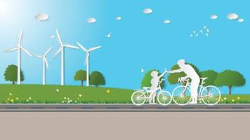 Paper folding art origami style vector illustration. Green renewable energy ecology technology power saving environmentally friendly concepts, father and son hold hands together cycling in meadow