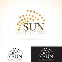 Company identity vector logo design mock up template set. abstract geometry concept sunrays radiance  icon logotype illustration. presented in dark and light colors
