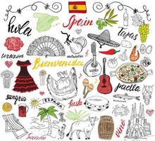 España garabatos elementos. conjunto dibujado a mano con paella de comida española, camarones, aceitunas, uva, abanico, barril de vino, guitarras, instrumentos musicales, vestidos, toro, rosa, bandera y mapa, letras. Doodle conjunto aislado vector