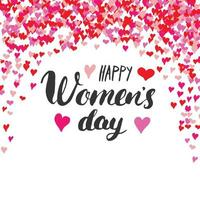 Happy Women's Day greeting card Hand lettering. Holiday grunge textured retro design vector illustration
