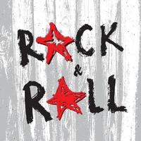 Music Rock and Roll Hand Drawn Lettering, Vector Illustration.