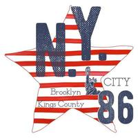 T-shirt typography design, NYC printing graphics, typographic vector illustration, New York graphic design for label or t-shirt print, Badge, Applique