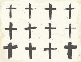 Conjunto de símbolos cruzados dibujados a mano de grunge. cruces cristianas, iconos de signos religiosos, ilustración de vector de símbolo de crucifijo.