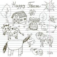 Happy farm doodles icons set. Hand drawn sketch with horse, cow, sheep pig and barn. childlike cartoony sketchy vector illustration on notebook paper background