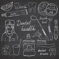 Dental health doodles icons set. Hand drawn sketch with teeth, toothpaste toothbrush dentist mouth wash and floss. vector illustration on chalkboard background