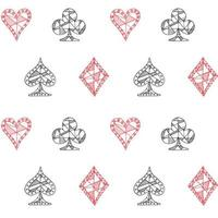 Hand drawn sketched Playing cards symbol seamless pattern, poker, blackjack background, doodle hearts diamonds spades and clubs symbols. vector