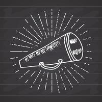 Bullhorn or megaphone, loudspeaker, Hand Drawn Sketch on retro vintage sunrays. Vector Illustration isolated on chalkboard background.