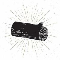 Tree log vintage label, Hand drawn sketch, grunge textured retro badge, typography design t-shirt print, vector illustration