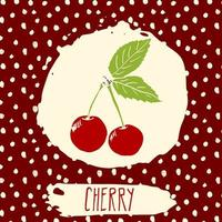Cherry hand drawn sketched fruit with leaf on background with dots pattern. Doodle vector cherry for logo, label, brand identity